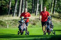HILVERSUM - Germany vs Austria (2,5-0,5)  Jannik de Bruyn (r)  and Nick Bachem during the foursomes. Quarter finals. ELTK Golf 2020 The Dutch Golf Federation (NGF), The European Golf Federation (EGA) and the Hilversumsche Golf Club will organize Team European Championships for men. COPYRIGHT KOEN SUYK