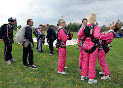 © licensed to London News Pictures. Wallingford, UK.  03/09/11. A group of successful business women spend the day sky diving after raising a minimum of £20,000 each in order to participate in the sponsored jump. Breakthrough Breast Cancer launched the idea, called Breakthrough Bobby Birds,  in 2010. The skydive was chosen as it most closely emulates the feeling of 'free-fall' following a diagnosis of breast cancer. Mandatory Credit Stephen Simpson/LNP