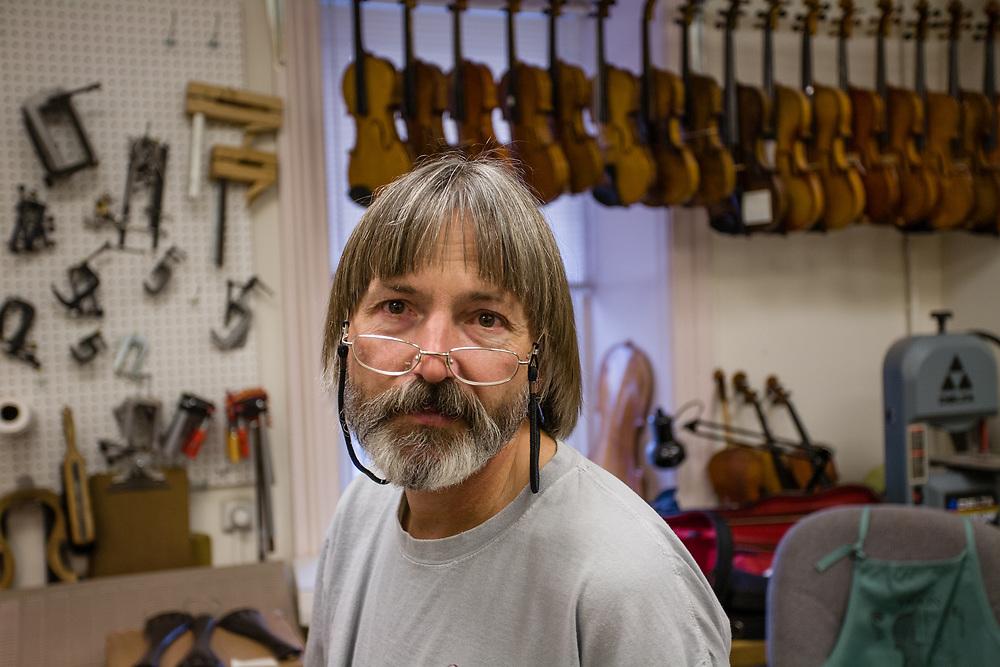 Stephen Beekman in his shop in Peace Dale, Rhode Island.