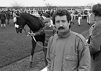 At Punchestown Racecourse, Irish National Hunt Festival, Ireland Footballer Gerry Ryan at Punchestown, Dublin, circa April 1986 (Part of the Independent Newspapers Ireland/NLI Collection).