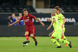 July 31, 2018 - Arlington, TX, U.S. - ARLINGTON, TX - JULY 31: AS Roma midfielder Lorenzo Pellegrini (7) handles the ball during the International Champions Cup between FC Barcelona and AS Roma on July 31, 2018 at AT&T Stadium in Arlington, TX.  (Photo by Andrew Dieb/Icon Sportswire) (Credit Image: © Andrew Dieb/Icon SMI via ZUMA Press)
