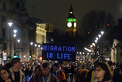 © Licensed to London News Pictures. <br /> 30/1/2017. <br /> Anti-Trump protest fills Whitehall, outside No 10 Downing Street. The protest is in response to the ban on citizens of majority Muslim countries .London, Great Britain.  <br /> <br /> Photo credit: Anthony Upton/LNP