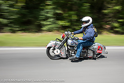 Mark Hill riding his 1936 Indian Four during Stage 5 of the Motorcycle Cannonball Cross-Country Endurance Run, which on this day ran from Clarksville, TN to Cape Girardeau, MO., USA. Tuesday, September 9, 2014.  Photography ©2014 Michael Lichter.