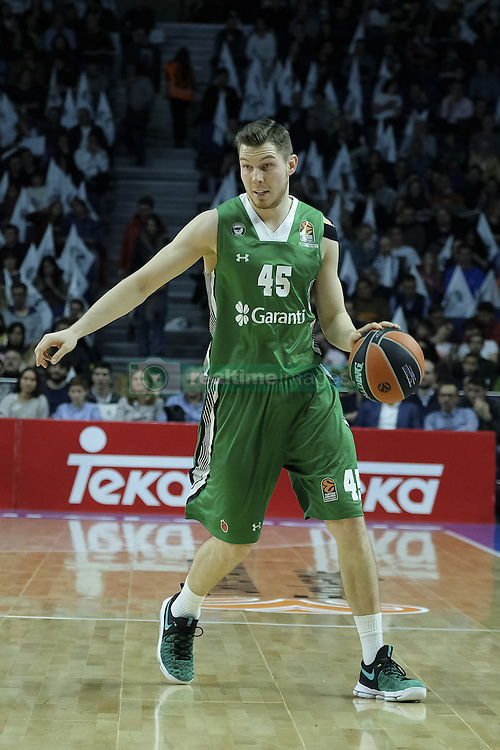 February 24, 2017 - Madrid, Madrid, Spain - Bertans  of Darussafaka Dogus Istanbul in action during the 2016/2017 Turkish Airlines Euroleague Regular Season Round 23 game between Real Madrid and Darussafaka Dogus Istanbul at Barclaycard Center on February 24, 2017 in Madrid, Spain  (Credit Image: © Oscar Gonzalez/NurPhoto via ZUMA Press)
