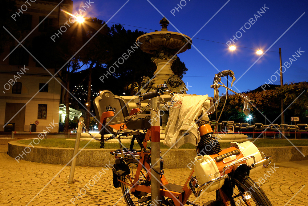 Solex abandoned at night in Lugano