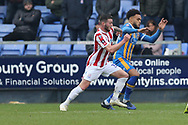 20 Aaron Holloway for Shrewsbury Town awarded a penalty after a challenge by Stoke City defender Erik Pieters (3) during the The FA Cup 3rd round match between Shrewsbury Town and Stoke City at Greenhous Meadow, Shrewsbury, England on 5 January 2019.