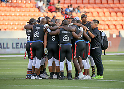 July 19, 2018 - Houston, TX, U.S. - HOUSTON, TX - JULY 19:  Godspeed form a huddle during the American Flag Football League Ultimate Final game between the Fighting Cancer and Godspeed on July 19, 2018 at BBVA Compass Stadium in Houston, Texas.  (Photo by Leslie Plaza Johnson/Icon Sportswire) (Credit Image: © Leslie Plaza Johnson/Icon SMI via ZUMA Press)