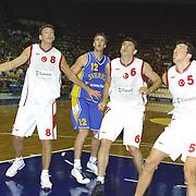 Turkish between Swede Special basketball match. Players Mirsad TURKCAN (R), Asim PARS(L), Hidayet TURKOGLU(R) during their action Abdi Ipekci Sport Hall in ISTANBUL at TURKEY.<br /> Photo by AYKUT AKICI/TurkSporFoto