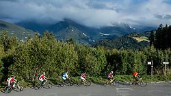 10-09-2017 FRA: BvdGF Tour du Mont Blanc day 2, St. Gervais<br /> Omgeven door imposante bergtoppen en vergezichten rijden we over mooie paden en trails naar de plaats St. Gervais waar we overnachten / Natuur, uitzicht, landschap, Stuwmeer, wegen, groep yellow