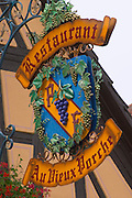 wrought iron sign restaurant au vieux porche dom paul zinck eguisheim alsace france