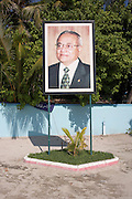 A portrait of President Maumoon Abdul Gayoom, President of the Republic of Maldives stands under a tropical sun on Meedu Island.