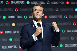 President Emmanuel Macron speaks at the Bill and Melinda Gates foundation's Goalkeepers event at Jazz at Lincoln Center in New York.