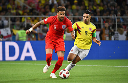 Radamel Falcao and Kyle Walker in action during the 1/8 Final Game between Colombia and England at the 2018 FIFA World Cup in Moscow, Russia on July 3, 2018. Photo by Lionel Hahn/ABACAPRESS.COM