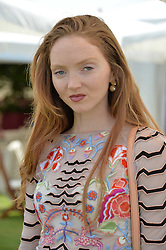 Lily Cole at Cartier Queen's Cup Polo, Guard's Polo Club, Berkshire, England. 18 June 2017.<br /> Photo by Dominic O'Neill/SilverHub 0203 174 1069 sales@silverhubmedia.com