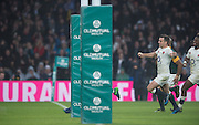 """Twickenham, United Kingdom.  """"Smiling"""",  George FORD and Marland YARDE, running in behind Owen FARRELL [Hidden by the post protection] to score a second half try during the, Old Mutual Wealth Series match.: England vs South Africa, at the RFU Stadium, Twickenham, England, Saturday, 12.11.2016<br /> <br /> [Mandatory Credit; Peter Spurrier/Intersport-images]"""