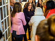 11 APRIL 2019 - DES MOINES, IOWA: US Senator KAMALA HARRIS, (D-CA) greets voters at a house party meet and greet for her presidential campaign in Des Moines.  Sen Harris is one of the leading candidates to be Democratic nominee for the US Presidency. Iowa traditionally hosts the the first election event of the presidential election cycle. The Iowa Caucuses will be on Feb. 3, 2020.    PHOTO BY JACK KURTZ