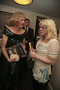 PRESENTER OF LAST YEAR'S PRIZE GRAYSON PERRY AND THIS YEAR'S PRESNETER COURTNEY LOVE, Literary Review's Bad Sex In Fiction Prize.  In & Out Club (The Naval & Military Club), 4 St James's Square, London, SW1, 29 November 2006. <br />Ceremony honouring author who writes about sex in a 'redundant, perfunctory, unconvincing and embarrassing way'. ONE TIME USE ONLY - DO NOT ARCHIVE  © Copyright Photograph by Dafydd Jones 248 CLAPHAM PARK RD. LONDON SW90PZ.  Tel 020 7733 0108 www.dafjones.com