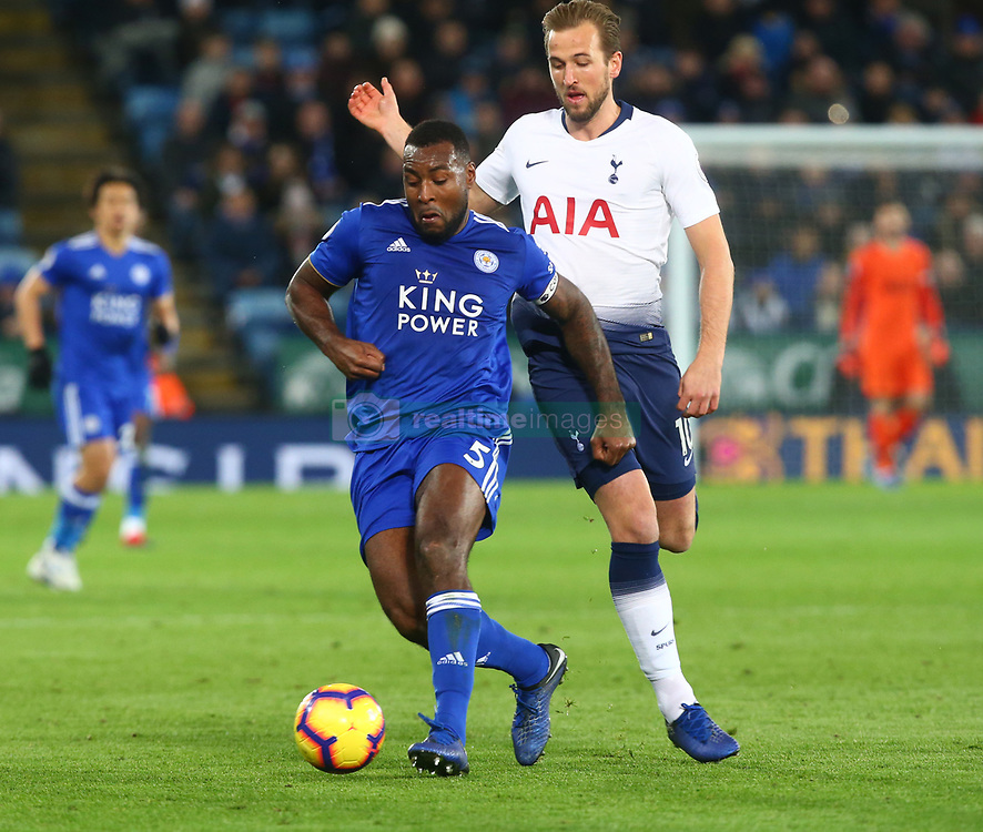 December 8, 2018 - Leicester, England, United Kingdom - Leicester, December 08, 2018.Leicester City's Wes Morgan and Tottenham Hotspur's Harry Kane.during the English Premier League match between Leicester City and Tottenham Hotspur at the King Power Stadium in Leicester, Britain, 8 December 2018  (Credit Image: © Action Foto Sport/NurPhoto via ZUMA Press)