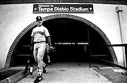 Edgar Martinez and the Mariners walks away from Tempe Diablo Stadium, the only spring-training home a Seattle major-league baseball team had known. (The Seattle Times, 1992)