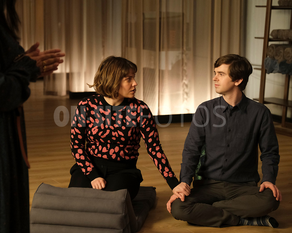 """THE GOOD DOCTOR - """"Gender Reveal"""" – After finding out the gender of their unborn child, Lea's enthusiasm prompts Shaun to make an effort to be a more supportive partner. Meanwhile, the team treats a navy pilot whose previous doctor's misdiagnosis compromises her chances at a full recovery on an all-new episode of """"The Good Doctor,"""" MONDAY, APRIL 19 (10:00-11:00 p.m. EDT), on ABC. (ABC/Jeff Weddell)<br /> PAIGE SPARA, FREDDIE HIGHMORE"""