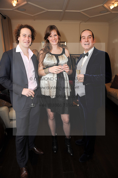 Left to right,JAMIE HARPEL, KJ WILLETT and OLIVIER MURAO at a private view of Atelier-Mayer.com's collection held at 131 Oakwood Court, London, on 24th November 2009.