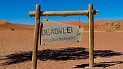 Entrance to the Deadvlei sign, Namib Naukluft Park, Namibia, Africa