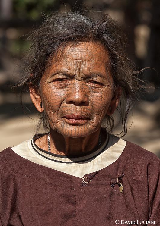 An elderly tattooed Chin woman i met in Mada Kin, a Chin village along Lemro River.