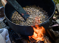 BARACOA, CUBA - CIRCA JANUARY 2020: Detail of cocoa beans being roasted in Baracoa. Cocoa farms are spread and widely known in the region. Cocoa and chocolate are one of the products closely linked to these lands identity.