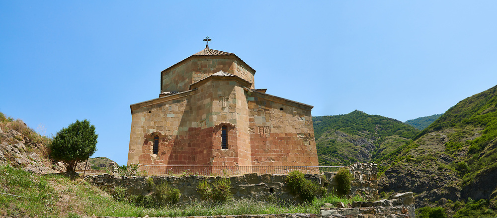 Picture & image of Ateni Sioni Georgian Orthodox tetraconch Church, 7th century, Ateni, Georgia.<br /> <br /> Built in the 7th century following the ground plan of Jvari Monastery Ateni Sioni Georgian Orthodox follows a tetraconch cruciform layout with four apse with niches between each and a central cupola. .<br /> <br /> Visit our MEDIEVAL PHOTO COLLECTIONS for more   photos  to download or buy as prints https://funkystock.photoshelter.com/gallery-collection/Medieval-Middle-Ages-Historic-Places-Arcaeological-Sites-Pictures-Images-of/C0000B5ZA54_WD0s<br /> <br /> Visit our REPUBLIC of GEORGIA HISTORIC PLACES PHOTO COLLECTIONS for more photos to browse, download or buy as wall art prints https://funkystock.photoshelter.com/gallery-collection/Pictures-Images-of-Georgia-Country-Historic-Landmark-Places-Museum-Antiquities/C0000c1oD9eVkh9c