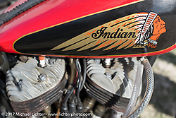 Antique Indian motorcycle at the AMCA (Antique Motorcycle Club of America) Sunshine Chapter National Meet in New Smyrna Beach during Daytona Beach Bike Week. FL. USA. Saturday March 11, 2017. Photography ©2017 Michael Lichter.