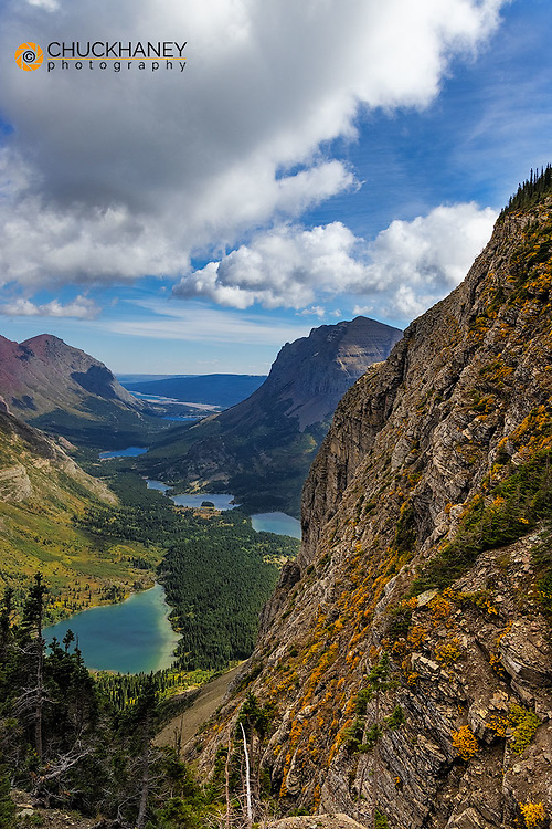 Looking down on Chain of Lakes to the Many Glacier Valley from Swiftcurrent Passs area in Glacier National Park, Montana, USA