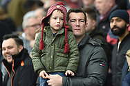 A young Villa fan watches his heroes enter the pitch during the EFL Sky Bet Championship match between Aston Villa and Birmingham City at Villa Park, Birmingham, England on 25 November 2018.
