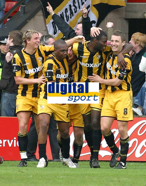 Photo: Dave Linney.<br />Walsall v Port Vale. Coca Cola League 1. 15/04/2006.<br />Port Vale's Clayton Fortune(second from right) makes it 1-1
