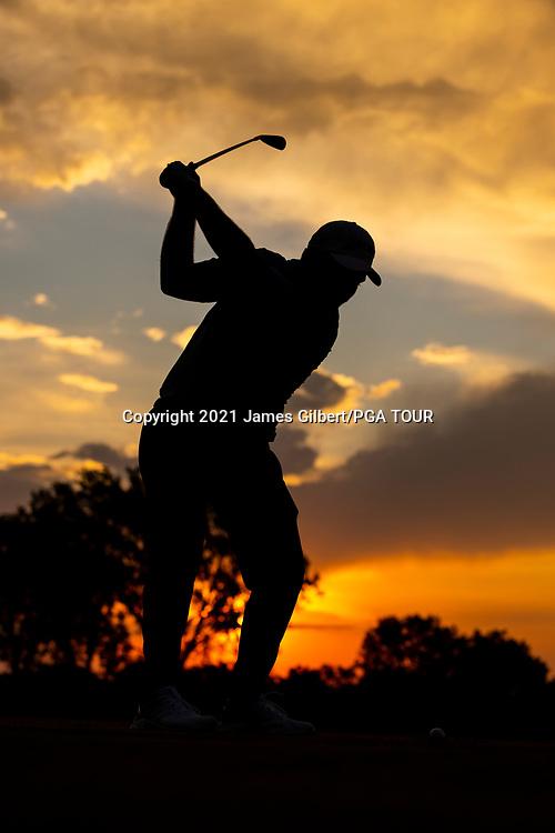 WICHITA, KS - JUNE 20: Max Greyserman tees off on the driving range at sunrise before the final round of the Wichita Open Benefitting KU Wichita Pediatrics at Crestview Country Club on June 20, 2021 in Wichita, Kansas. (Photo by James Gilbert/PGA TOUR via Getty Images)