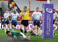 Rugby Union - 2020 / 2021 European Rugby Challenge Cup - Round of 16 - London Irish vs Cardiff - Brentford Community Stadium<br /> <br /> Curtis Rona of London Irish goes over for the winning try<br /> <br /> Credit  COLORSPORT/ANDREW COWIE