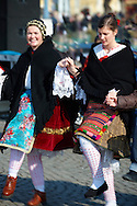 Traditional Hungarian Sokrac dancers in the main square  at the Busojaras Spring  festival 2010 Mohacs Hungary - Stock photos .<br /> <br /> Visit our HUNGARY HISTORIC PLACES PHOTO COLLECTIONS for more photos to download or buy as wall art prints https://funkystock.photoshelter.com/gallery-collection/Pictures-Images-of-Hungary-Photos-of-Hungarian-Historic-Landmark-Sites/C0000Te8AnPgxjRg