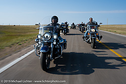 Richard Velasco on the Harley Owners Group (HOG) ride out from the Full Throttle Saloon during the Sturgis Motorcycle Rally. SD, USA. Thursday, August 12, 2021. Photography ©2021 Michael Lichter.