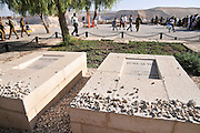 Israel, Negev, Kibbutz Sde Boker, the grave of David (right) and Pola (left) Ben Gurion The Desert in the background