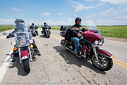 Clyde Brewer (L) of Windsor, CO on his 2006 Road King and Des Moines HOG Chapter member Bob Mitchell (R)  on his 2016 Ultra Limited  riding from Thunder Mountain Harley-Davidson in Loveland, Colorado to the Rocky Mountain HOG Rally in Steamboat Springs. USA. Wednesday June 7, 2017. Photography ©2017 Michael Lichter.