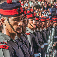 Troops from the Nepali army perform a drill at a festival in Kathmandu, Nepal.