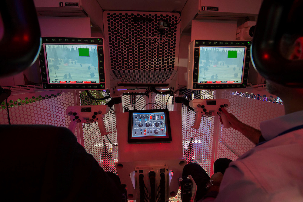 A simulator on the Lockheed Martin stand - The DSEI (Defence and Security Equipment International) exhibition at the Excel Centre, Docklands, London UK 15 Sept 2015