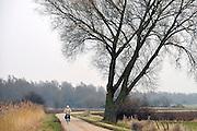 Nederland, Ubbergen, 28-2-2013Een vrouw rijdt op haar fiets door de Ooijpolder.Foto: Flip Franssen/Hollandse Hoogte