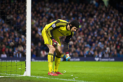15.02.2014, Etihad Stadion, Manchester, ESP, FA Cup, Manchester City vs FC Chelsea, Achtelfinale, im Bild Chelsea's goalkeeper Petr Cech stamps on, Manchester City balloon // during the English FA Cup Round of last 16 Match between Manchester City and FC Chelsea at the Etihad Stadion in Manchester, Great Britain on 2014/02/15. EXPA Pictures © 2014, PhotoCredit: EXPA/ Propagandaphoto/ David Rawcliffe<br /> <br /> *****ATTENTION - OUT of ENG, GBR*****