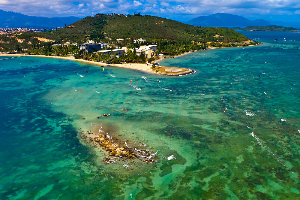 Aerial View, Kite surfers off Anse Vata Beach, Noumea, Grand Terre, New Caledonia
