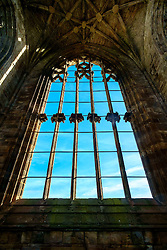 Window detail in Melrose Abbey, Melrose. Scottish Borders<br /> <br /> (c) Andrew Wilson   Edinburgh Elite media