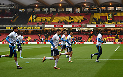 """Tottenham Hotspur's players warm up prior to kick off during the Premier League match at Vicarage Road, Watford. PRESS ASSOCIATION Photo Picture date: Saturday December 2, 2017. See PA story SOCCER Stoke. Photo credit should read: Daniel Hambury/PA Wire. RESTRICTIONS: EDITORIAL USE ONLY No use with unauthorised audio, video, data, fixture lists, club/league logos or """"live"""" services. Online in-match use limited to 75 images, no video emulation. No use in betting, games or single club/league/player publications."""