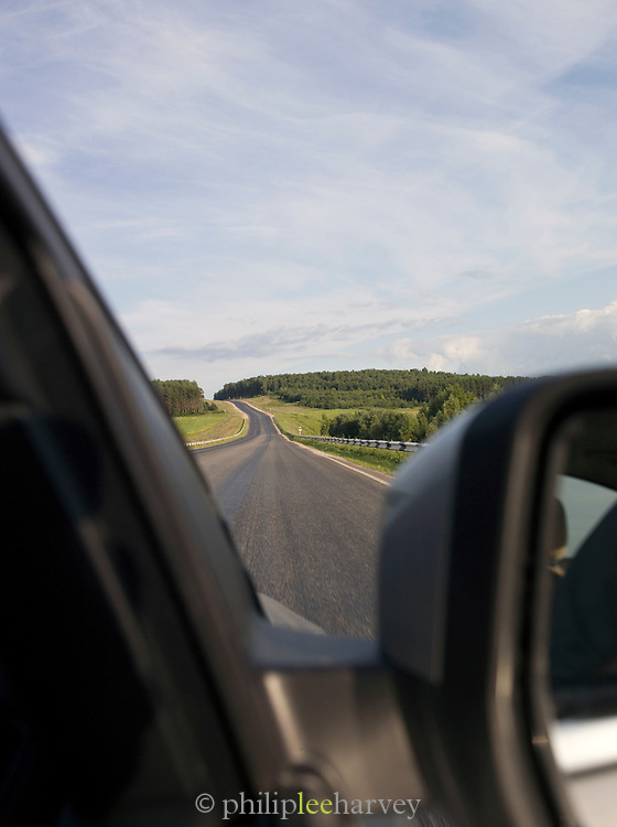 View from a car window along road, Perm, Russia
