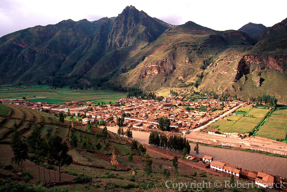 PERU, URUBAMBA VALLEY Pisac; with Inca terraced fields above