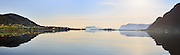 Beautiful morning panoramic view of Remøy Bridge, which connects the two islands Remøy and Leinøy, located on the western part of Norway | Nydelig morgenstemning i Nørdre Vaulen med Remøy og Leinøy på hver side av Remøybrua.