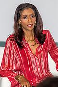 Koningin Maxima bij The Hague Institute for Global Justice met Hare Hoogheid Sheikha Moza bint Nasser uit Qatar, oprichter van de stichting Education Above All en pleitbezorger van de VN ontwikkelingsdoelen. Zij wonen hier het seminar Law, Education and the SDGÕs over bescherming onderwijs in conflictsituaties bij.<br /> <br /> Queen Maxima at The Hague Institute for Global Justice with Her Highness Sheikha Moza binds Nasser from Qatar, founder of the Education Above All Foundation and advocate of UN development goals. They attend the Law, Education and the SDGÕ seminar on protection of education in conflict.<br /> <br /> Op de foto / On the photo:  Laila Bokhari